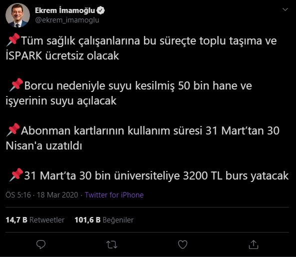 Ekrem İmamoğlu'nun Koronavirüs Sürecinde İstanbul Halkına Sunduğu Yenilikler