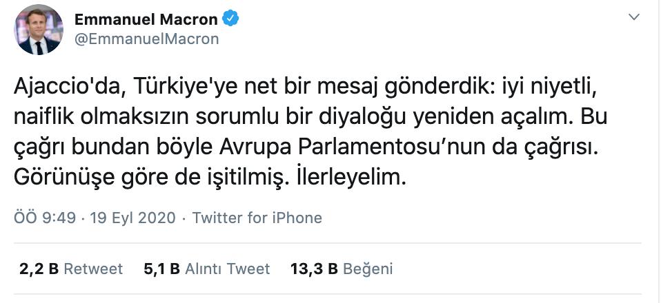 Emmanuel Macron'un Türkçe tweeti - ckfeed son dakika haberleri